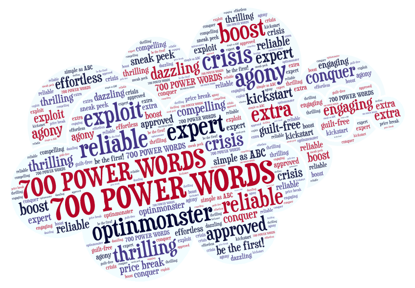 word cloud with persuasive words for selling