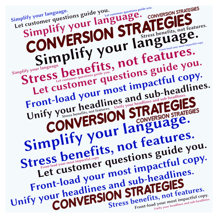 sales conversion strategy ideas word cloud