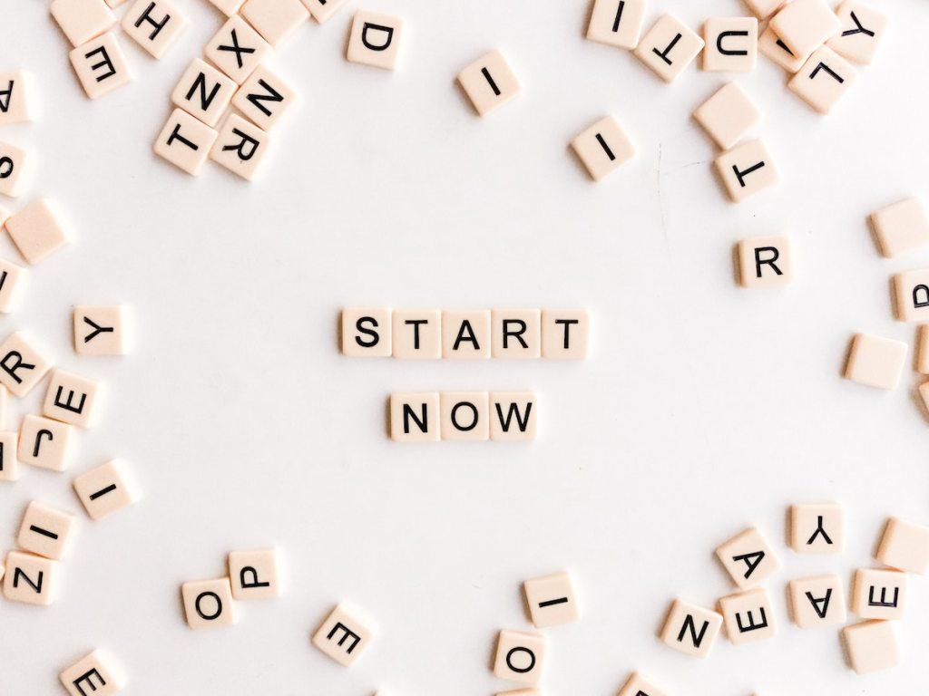 'Start now' in letter tiles